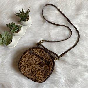 Vintage Cheetah Animal print Circle Crossbody Bag